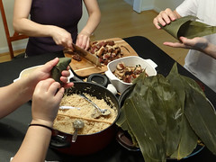Chinese Cooking : Zongzi (The Flying Inn) Tags: food cooking cuisine leaf rice chinese wrapped wrap bamboo meat tamales dumplings dumpling foody foodie fillings infinitexposure