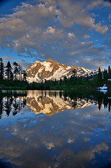 picture lake 4304 (Light of the Moon Photography) Tags: blue sunset sky lake snow reflection clouds evening washington northwest north picture glacier mount evergreen cascades shuksan