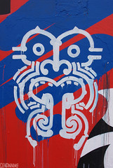 Rad Design (smellerbee) Tags: blue red newzealand white streetart art face graffiti design aotearoa