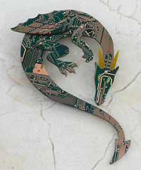 Gdragbrooch2 (the Blue Kraken) Tags: pin technology dragon contemporary brooch jewelry lizard fantasy winged circuit cyberpunk ecofriendly steampunk sustainableliving pcbs upcycled thebluekraken circuitboarddragon