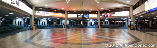 Surreal empty airport terminal