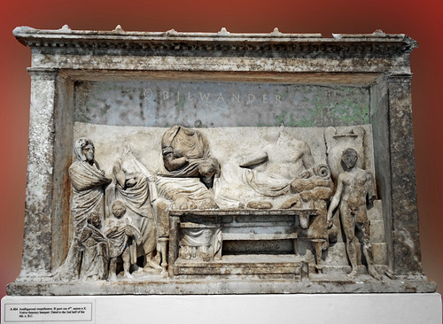 Macedonia. Marble relief of votive funerary banquet, 4th c BC
