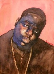 B.I.G. (MFG512) Tags: new york art cali brooklyn watercolor painting los big angeles beef christopher wallace rap rapper gangsta thug smalls biggie notorious vision:outdoor=0783