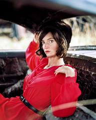 . (Sandy Phimester) Tags: red portrait film fashion vintage kodak pushed portra inviting pentax6x7