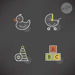 Kids toys (TheVectorminator) Tags: orange white green childhood sign yellow fun toy grey duck symbol stroller icon blocks playtime rubberduck playful vector babytoy babystroller letterblocks educationtoys
