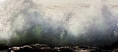 Green Water (Joshuaww) Tags: ocean california blue people white reflection green beach dogs wet water beautiful fog clouds hair reflecting sand rocks waves elizabeth pacific joshua tide rocky wave josh carmel elisabeth outcropping consumed joshuaww