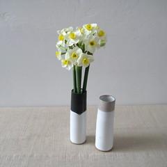 Bud Vases - Spring Flowers (Jude Allman) Tags: flowers white ceramic ceramics crafts craft pot pots jude clay pottery esty allman {vision}:{sky}=078 {vision}:{outdoor}=0968
