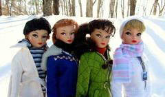 (6) Uneeda Sisters (Foxy Belle) Tags: winter snow vintage outside doll barbie collection clone miss suzette uneeda