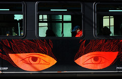 Eyes on fire (. Jianwei .) Tags: street red urban bus window vancouver fire eyes mood candid nex silhouetts kemily nex6