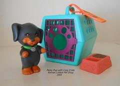 Perky Pup with Cozy Crate (groomerkt) Tags: dog pet set vintage 1993 kenner crate petshop lps fooddish blackandbrown littlestpetshop perkypup
