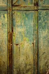 Time and human abstract (Αλήθεια ...... ( Alicia G. )) Tags: door old españa house abstract verde green facade town casa spain puerta gate village metallic pueblo ventanas villa viejo fachada antiguo façade castillalamancha metálica castilian abtracto tomelloso