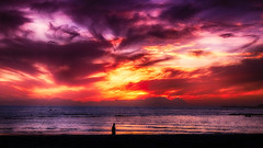 Surging, Unto Skies of Fire (WelshPixie) Tags: ocean sunset beach clouds southafrica colours hdr gordonsbay westerncape