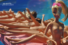 Pool Party (Hi-Fi Fotos) Tags: party wild summer sun silly wet water pool swim naked fun toy nikon dolls barbie culture icon pop plastic topless exhibitionist blonde raft splash sunbathing diorama campy risque skinnydip d5000 hallewell hififotos