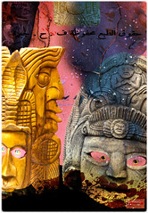 Masks of Doom (geoffspix) Tags: mayan masks eyes grunge texture arabic hieroglyphics border