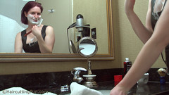 katsurth_faceshave_in_rubberdress_4 (kat_surth) Tags: faceshave faceshaving face shave rubber dress katsurth surth lathershave lather straightedgerazor razor straightedge bathroom hotel