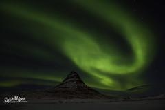Kirkjufell and the Spinning Green Giant (wilbias) Tags: sky winter night green mountain aurora march iceland peninsula borealis kirkjufell grundarfjörður snaefellsnes