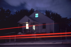(patrickjoust) Tags: dundalk baltimorecounty baltimore maryland house lightstreak americanflag fujicagw690 fujichromet64 6x9 medium format 120 rangefinder 90mm f35 fujinon lens tungsten balanced chrome slide e6 color reversal discontinued film cable release tripod long exposure night after dark manual focus analog mechanical patrick joust patrickjoust