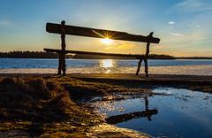 Paikka auringossa (Antti Tassberg) Tags: lauttasaari 28mm landscape jää sunstar outdoor istuin kevät nature chair helsinki ice laru spring