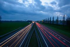 into the night (stevefge) Tags: beuningen night sky cloud light road perspective vanishingpoint lines gelderland reflectyourworld nederland netherlands nl nederlandvandaag dark
