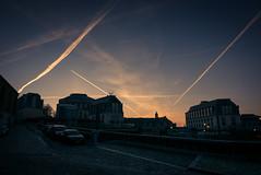 Mars Attack (Battle in the sky) (Gilderic Photography) Tags: liege belgium belgique belgie ciel morning city trail plane panasonic lx100 gilderic
