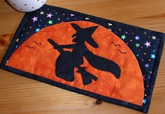 Flying Witch Mug Rug (The Patchsmith) Tags: halloween silhouette pattern witch quilting patchwork applique flyingwitch mugrug patchsmith
