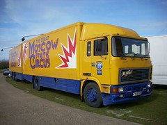 This isn't just a circus lorry... (quicksilver coaches) Tags: miltonkeynes circus erf e10 campbellpark eseries moscowstate