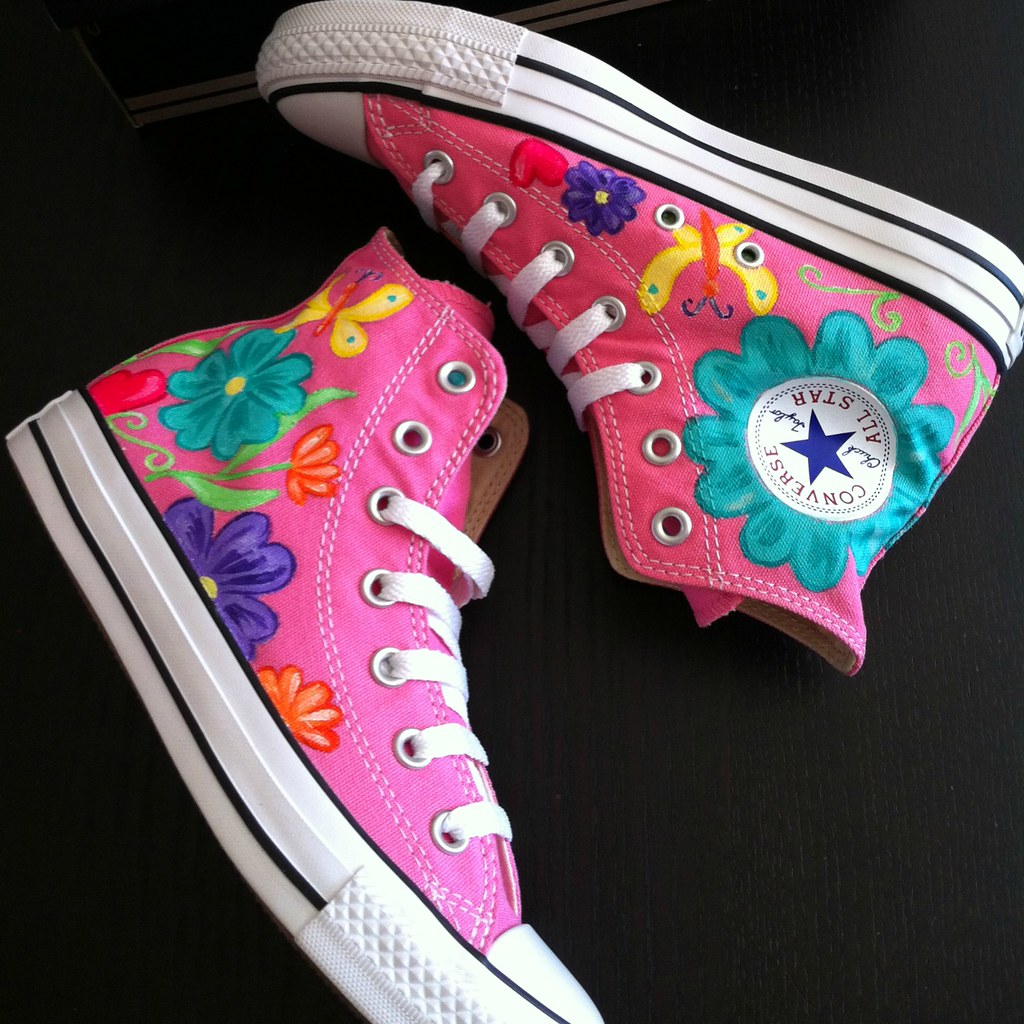 ec7a2eb2bf19e8 custom pink converse (Sherbie lemon) Tags  pink flowers high shoes hand  boots painted