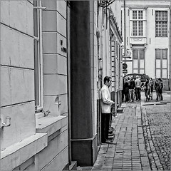 Humphrey still there (Luc B - PhLB) Tags: street bw woman white man black restaurant belgium brugge smoking tuxedo bruges bogart humphrey zwart wit bogie eyecatcher straat bogieonline