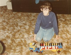 Early 80s - Geeky me with Lego Pepsi Lorry (TempusVolat) Tags: old film me truck vintage geotagged glasses scans geek lego mr scanner gimp coke scan lorry health national rig scanned epson pepsi cocacola scanning spectacles addiction gareth perfection tempus kenworth bigrig v200 bespectacled aerodyne morodo legocity legotruck photoscanner epsonperfection volat legolorry mrmorodo garethwonfor tempusvolat legoaddiction