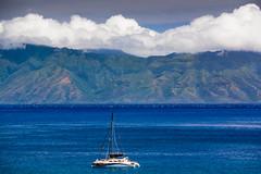 Catamaran and Molokai (Erik Pronske) Tags: clouds hawaii boat unitedstates maui catamaran lahaina molokai kaanapali