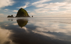 """Haystack in Cirrus Clouds"" (Waldemar Halka (www.halkaphoto.com)) Tags: usa reflection beach water clouds oregon reflecting nikon surf pacificocean haystack pacificnorthwest lowtide cannonbeach westcoast tides pacificcoast seastacks leefilter afs1735mmf28d d800e"
