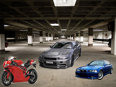 First Photoshop Assignment (604felixtam) Tags: skyline photoshop nissan garage newmedia first adobe bmw bcit m3 ducati noob r34 e36 cs6