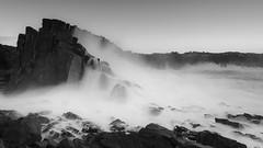 Bombo BW (stevoarnold) Tags: ocean seascape water coast rocks waves nsw swell kiama quarry bombo illawarra thundering