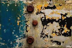 Three in Harmony (Junkstock) Tags: blue abstract black color texture yellow closeup photography photo junk rust iron paint photos decay rusty textures photographs photograph weathered abstraction aged peelingpaint distressed corrosion yakima patina oldstuff aths