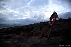 Porkkalanniemi (VisaStenvall) Tags: blue sea summer sky cloud sun water set clouds canon suomi finland outside outdoors eos evening is rocks gulf cloudy windy usm 6d kirkkonummi f4l 24105mm porkkalanniemi