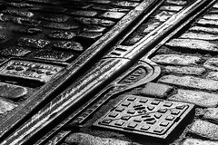 Right tracks (alanrharris53) Tags: light museum flickr track shade rails cobbles tramway crich