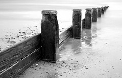 Rossall Groyne (Sheila H Watson) Tags: autumn bw monochrome northwest lancashire coastal groyne fleetwood waterscape rossall 2013