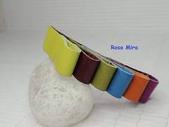 Broche multicolor de piel  BR.0105 (Espuma de mar by Rosa Mira) Tags: leather pin broche brooch jewelry bijoux jewel joyeria pell cuero joya bisuteria piel cuir complemento