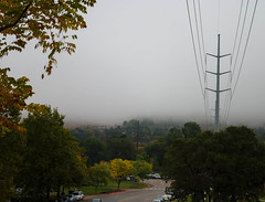 Foggy Morning (andrewhyder) Tags: autumn orange mountains fall colors yellow fog clouds powerlines ogden ogdenutah weberstateuniversity