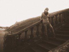 Old Stairs (destinyandfaith) Tags: woman girl sepia lady stairs missouri hillside poplarbluff