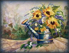 Sunflowers & Old Lace Revisited (MissyPenny) Tags: blue yellow painting acrylic canvas sunflowers wateringcan decorativepainting pdlaich missypenny