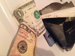 A: Like this. - h (SouthernBreeze) Tags: trip travel family blue friends light white money silly green paper fun cards photography photo funny i5 accident clothes cash plastic photograph strip laundering washed dried passport ironic ios dryer washer iphone southernbreeze launder 2013 iphonrography