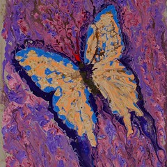 Moving forward - Abstract Poured Painting (stephene2) Tags: abstractseascape abstractbutterflies abstractpouredpainting abstractpouredpaintings