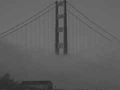 SF III (Ethan Schanberger) Tags: bridge sky people white black film nature rain fog architecture canon lens landscape golden nikon gate san francisco zoom grain ethan panasonic saturation telescopic schanberger