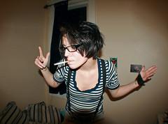 Smoking (Melissa O'Donohue) Tags: girl skinny glasses amber cool pretty dancing cigarette stripes smoke pale tattoos smoking fisheye tiny shorthair suspenders smoker blackhair girlswithtattoos