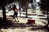 Fld VI; Ground penetrating radar sled dragged across undug surface. (1980, ID: cColepHalif112, Source: slide, Repostitory: NPAPH-project, Creator(s): Dan P. Cole)