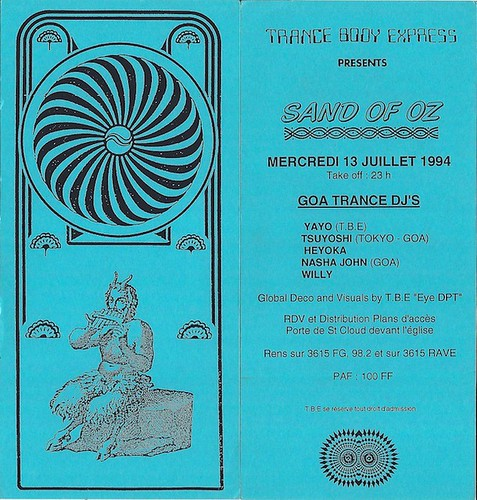 "Patrice Heyoka - Flyer 13/07/1994 - TBE ""Sand of Oz"" (Paris) <a style=""margin-left:10px; font-size:0.8em;"" href=""http://www.flickr.com/photos/110110699@N03/11308149023/"" target=""_blank"">@flickr</a>"