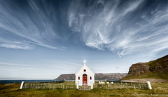 Sblskirkja (Kristinn R.) Tags: sky clouds iceland nikon churches nikonphotography nikond700 ingjaldssandur kristinnr sblskirkja