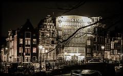 Amsterdam Prinsengracht (Michael Shoop) Tags: travel blackandwhite bw holland tourism netherlands dutch amsterdam bike night canon boat canal europe nederland thenetherlands prinsengracht nl europeanunion bicyle noordholland northholland canon7d michaelshoop