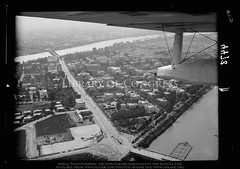 Cairo. El-Gezireh Island. At the Bulaq bridge. Sports ground in distance (APAAME) Tags: archaeology ancienthistory middleeast aerial libraryofcongress airphoto oblique aerialphotography matsoncollection nitratenegative aerialarchaeology geocodedbasedonsite
